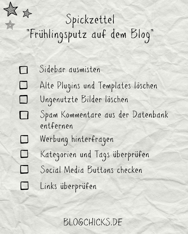 Auch auf dem Blog muss ab und an mal aufgeräumt werden. Mit meinem Spickzettel bist du ganz schnell fertig. Hier gehts zum download I www.annehaeusler.de