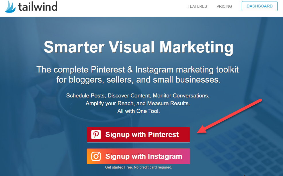 Melde dich mit Pinterest an